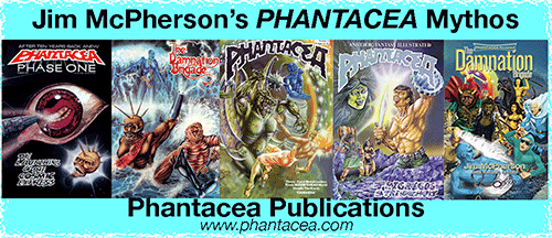 Banner ad for Phantacea Comic Books, cover artwork mostly by Ian Bateson