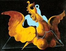 A Max Ernst painting entitled Chimere 1927; scanned in from a postcard bought in Paris 2004; figure suggestive of All of Incain; tirangle suggestive of Pyrame Silverstar