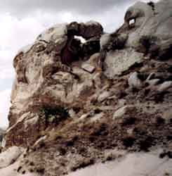 Could be or two cliff-heads in this photo  of a cliff taken in Turkey by Jim McPherson, 2003