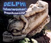 Caption reads 'Delphi, Fisherwoman's Psychopomp;, photo of a statue of a  dolphin with a woman atop it is from the Ephesian Museum in Selchuk, Turkey; photo by Jim McPherson, 2003