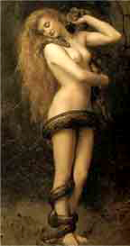 Woman wrapped in a thick snake, painting entitled Lilith is by Collier