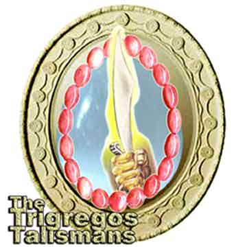 The Trigregos Talismans are a curved blade,a mirror and a bloodstone tiara, preparred on PHOTOSHOP by Jim McPherson, 2005