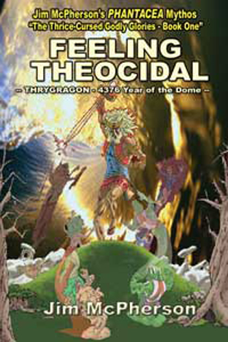 A variation of a cover for Feeling Theocidal being prepared by Verne Andru; background taken from web and added to Mithras figure by Jim McPherson, 2008
