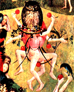 An extract from Bosch's Garden of Eartly Delights featuring owl-conjoined human dancers wielding fruit