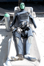 A manniken diver resting in Puerto Morelos, photo by Jim McPherson, 2016
