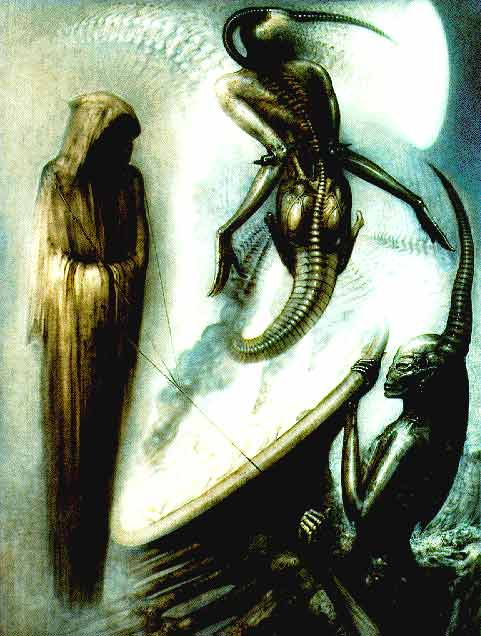 [H.R. GIGER'S PAINTING OF CHARACTERS REMINISCENT OF SOME OF THOSE FOUND IN <b>HELIODYSSEY</b> -- IMAGE TAKEN FROM THE WEB]