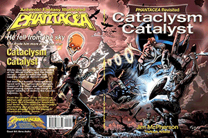 Cataclysm Catalyst front and back cover in black and white, art by Verne Andru