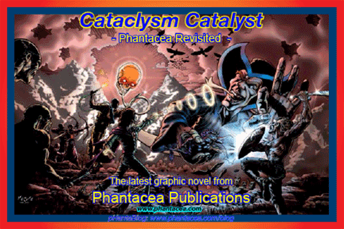 "Front of postcard prepared for launch of ""Cataclsym Catalyst"", artwork by Verne Andru, 2013"