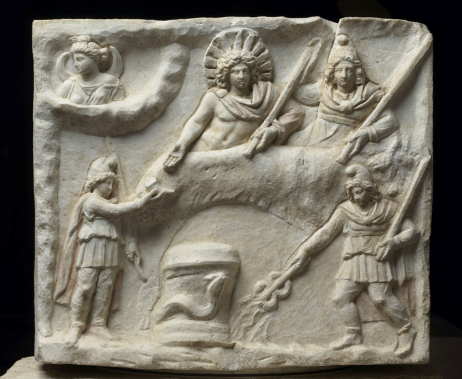 One side of the Mithrras relief found in the Lourvre, Paris, taken from Web