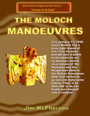 Two potential front covers for 'The Moloch Manoeuvres'