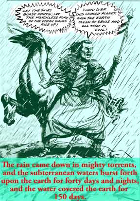 Xuthros Hor causing the Noachian Flood, illustration by Ian Fry, late 80s; text and colour-added by Jim McPherson, 2007
