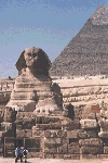 Sphinx in front of Great Pyramid shot by Jim McPherson after trip to Egypt 2000