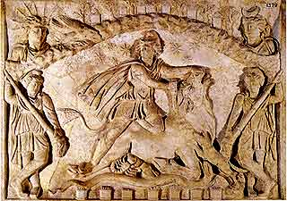 [AN IMAGE OF MITHRAS SLAYING THE CELESTIAL BULL TAKEN FROM THE WEB]